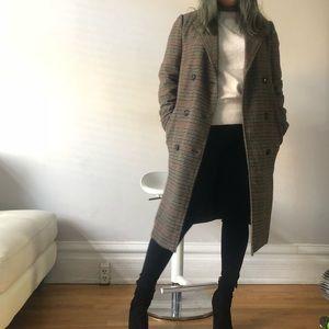Zara trafaluc checkered long coat